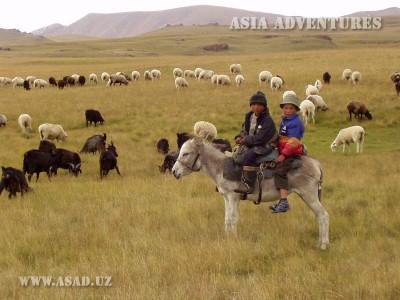 Юные чабаны близ озера Сон-куль, Кыргызстан