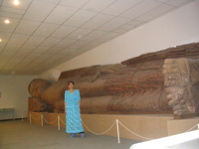 13-metered terracotta sleeping Buddha in the Museums of Antiques, Dushanbe
