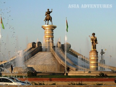 Fountain of Oguz Khan and his sons (the largest fountain complex in the world), Ashgabat, Turkmenistan