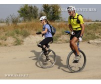 On the unicycle in Uzbekistan